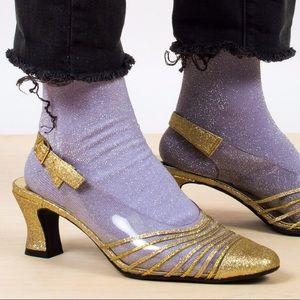 Vintage Metallic Gold Glitter Jelly Heels